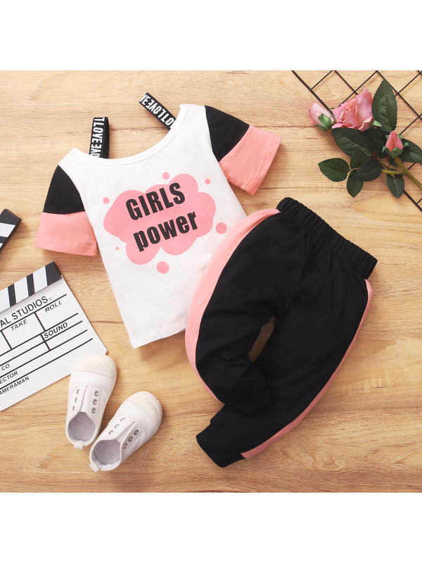 【6M-3Y】Girls Letter Print Contrast Color Stitching Short-sleeved T-shirt Two-piece Trousers