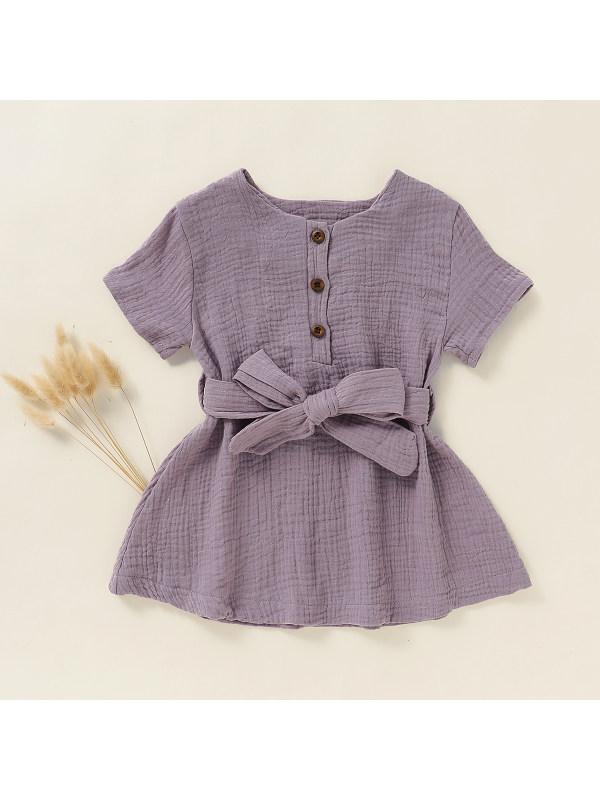 【18M-7Y】Girls' Solid Color Wrinkle Short-sleeved Dress Belt