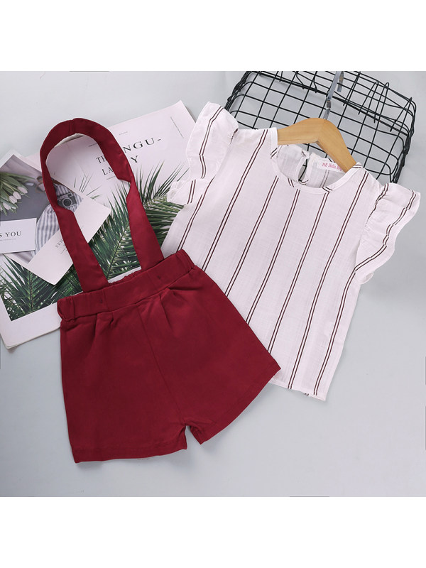 【18M-7Y】Girls Short-sleeved Striped T-shirt Strap Shorts Suit