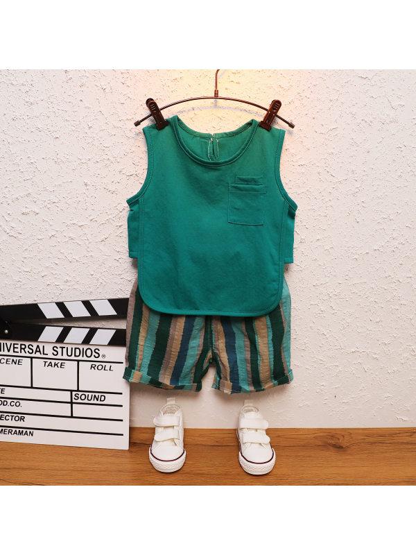 【12M-5Y】Two-piece Boy Sleeveless Back Shorts