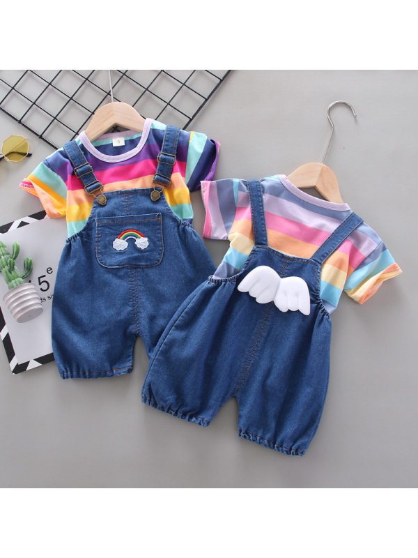 【12M-4Y】Girls Short-sleeved T-shirt Suspender Shorts Two-piece Suit