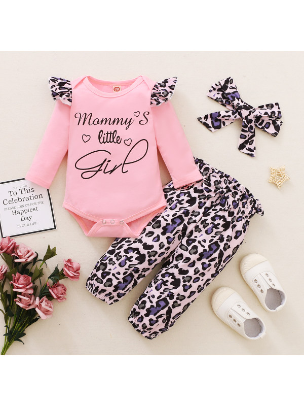 【6M-3Y】Baby Long Sleeve Letter Print Romper Leopard Pants Three-Piece Set