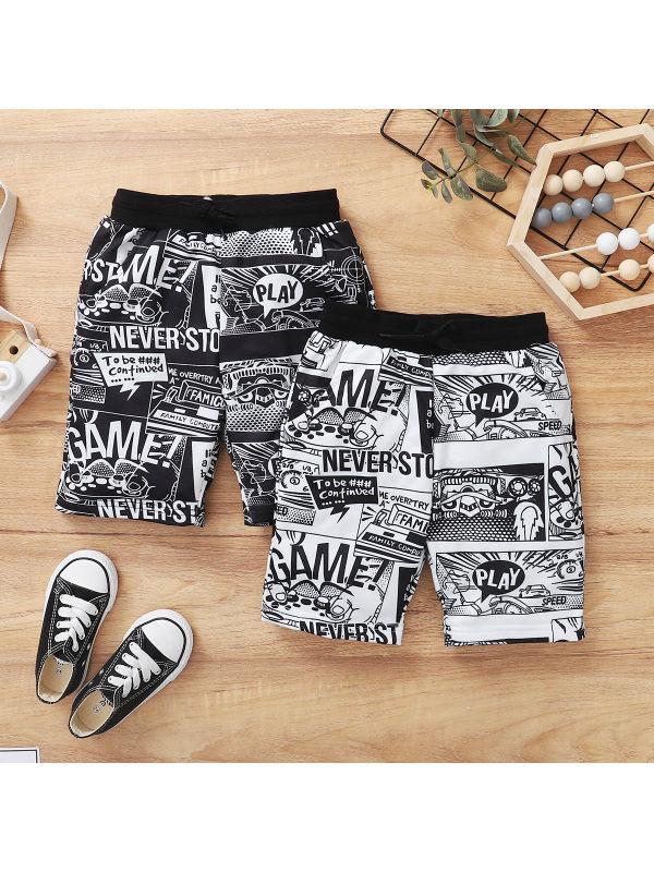 【4Y-13Y】Boys Cartoon Comic Print Loose Shorts