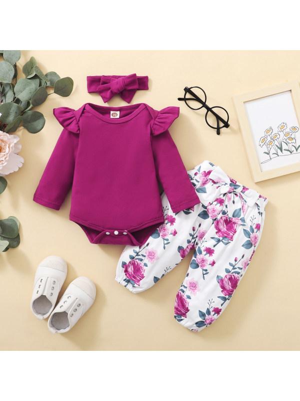 【6M-3Y】Three-piece Baby Full-sleeve Romper Print Trousers