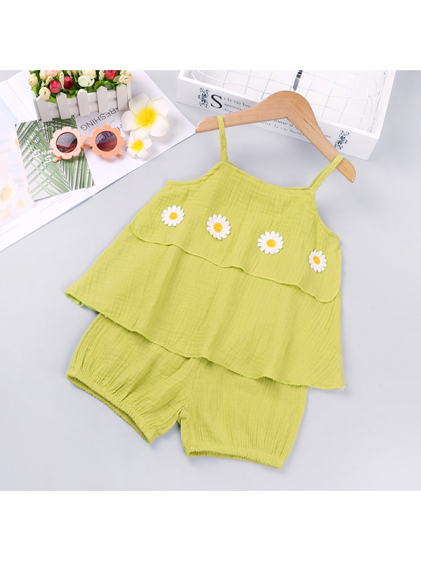 【18M-7Y】Girls Flower Sling Top Solid Color Shorts Two-piece Suit