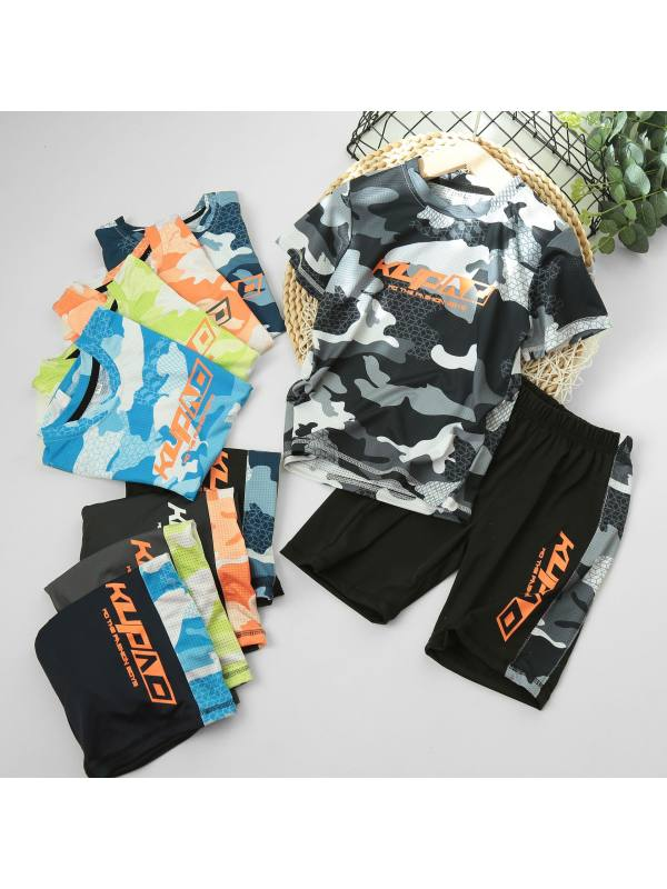 【3Y-13Y】Boy's Letter Printed Sports Breathable Short-sleeved T-shirt Shorts Two-piece Suit