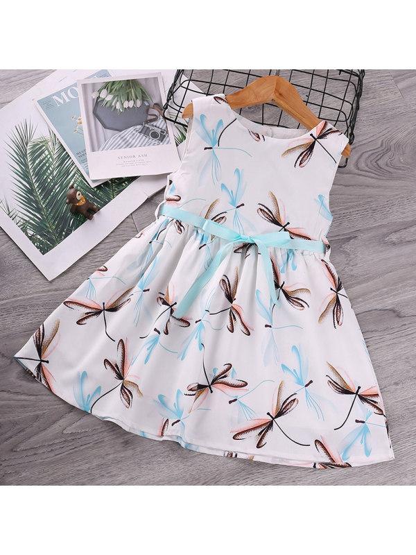 【18M-7Y】Girls Round Neck Sleeveless Dragonfly Print Dress