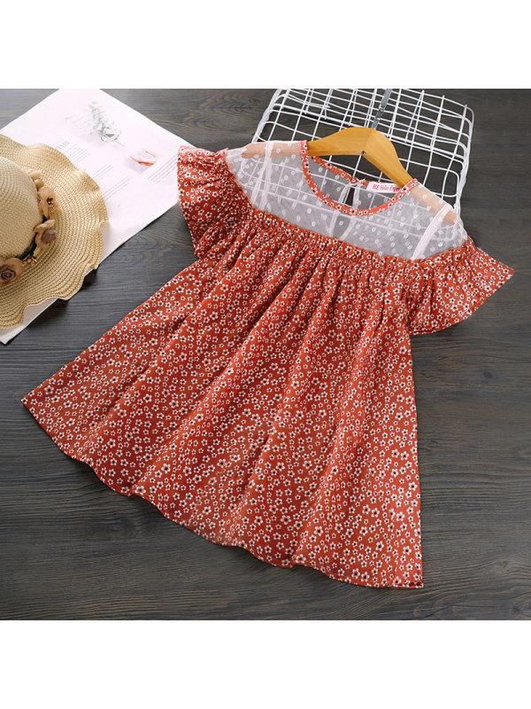 【18M-7Y】Girls Round Neck Short-sleeved Flower Dress