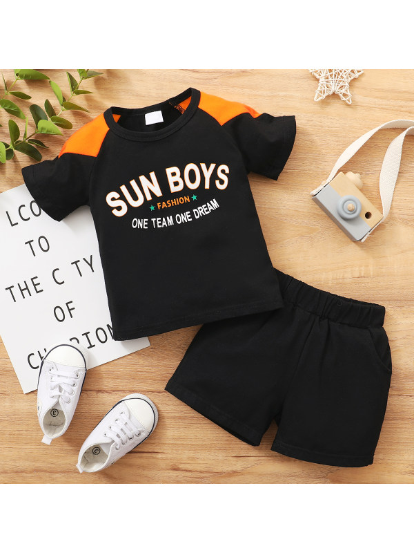 【6M-24M】Boys Printed Letters And Contrast Stitching Short-sleeved T-shirt Two-piece Shorts