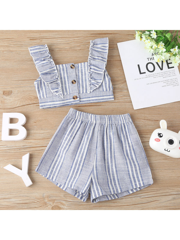 【18M-7Y】Girls Fashion Striped Camisole Button Top Striped Shorts Set