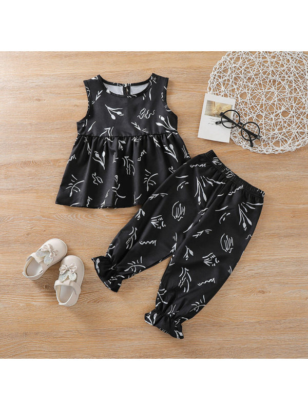 【2Y-7Y】Girls' Round Neck Sleeveless Printed Chiffon Blouse And Trousers Two-piece Suit