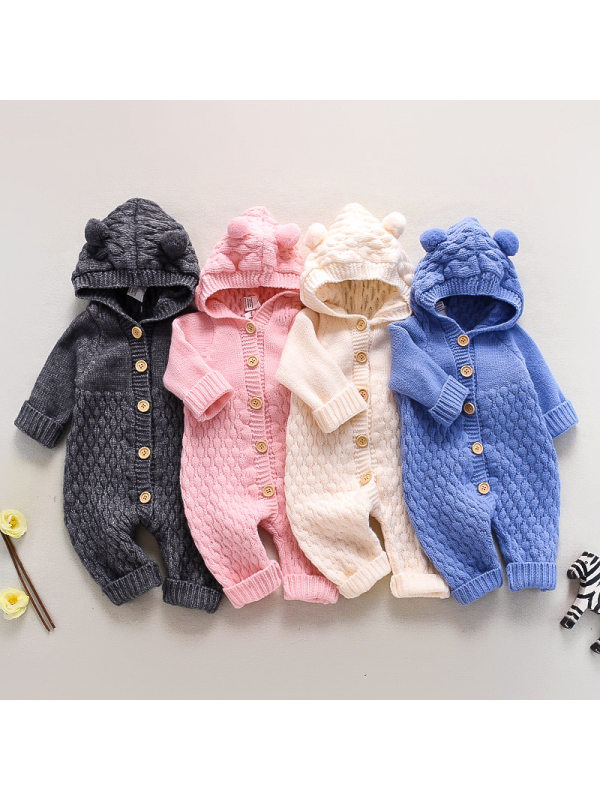 【3M-24M】Baby Cute Hooded Long-sleeved Knit One-piece Romper