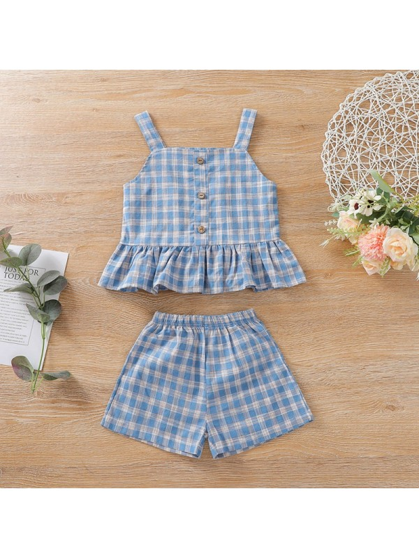 【6M-3Y】Girls Blue Plaid Sling Top And Shorts Suit