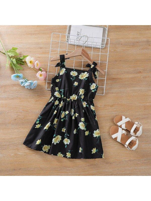 【2Y-7Y】Girls Black Floral Sleeveless Suspender Dress