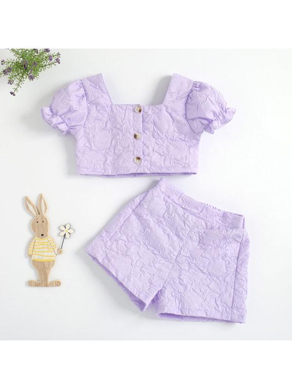 【18M-7Y】Girls Retro Square Collar Lantern Sleeve Top Shorts Set