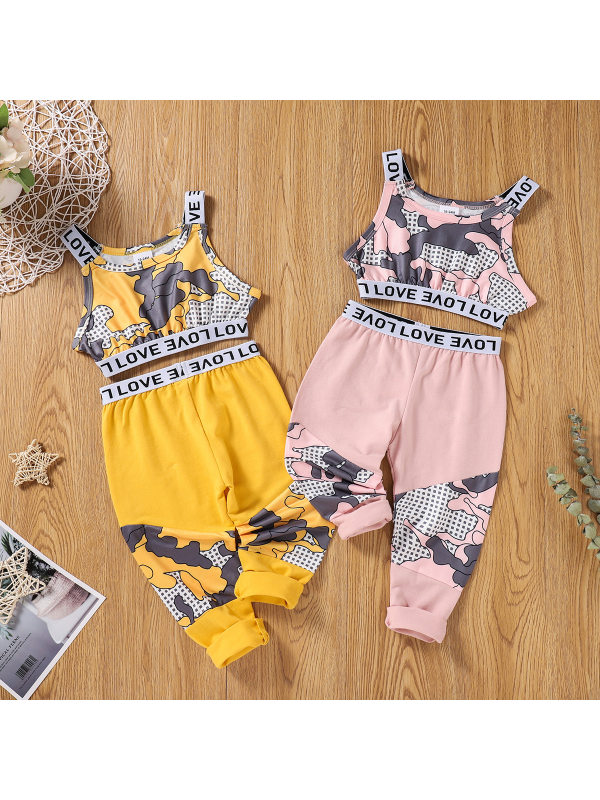 【18M-7Y】Girls Sleeveless Printed Tank Top with Trousers Suit