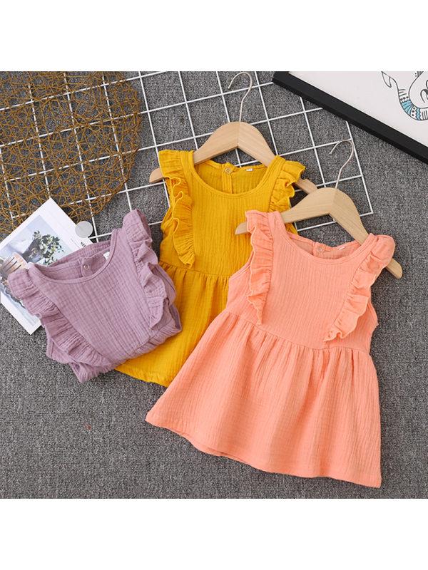 【12M-5Y】Girls Cute Sweet Linen Crew Neck Sleeveless Lace Dress