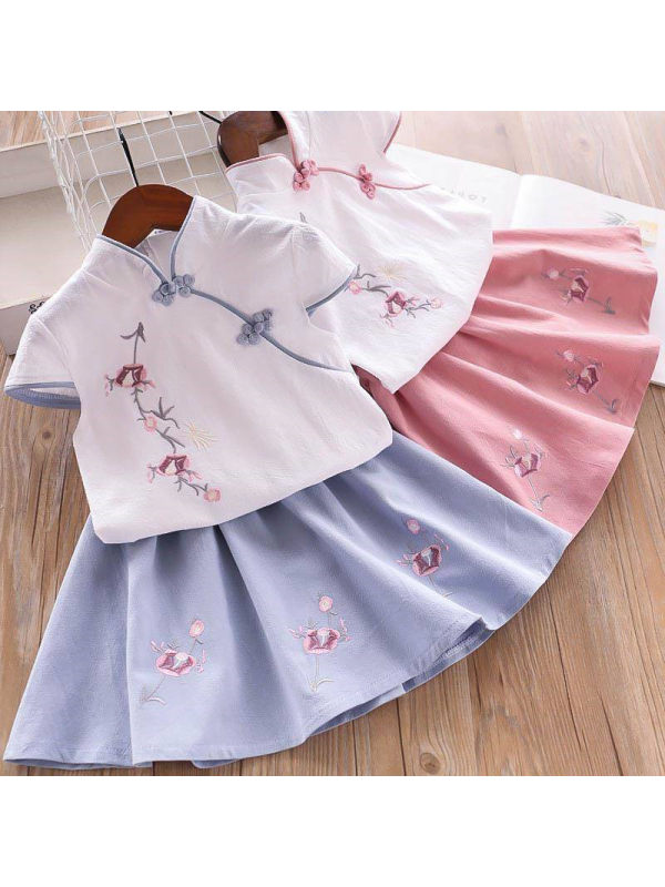 【18M-7Y】Girl Sweet Embroidered Shirt and Skirt Set