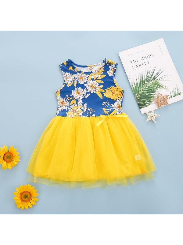 【18M-7Y】Girls Flower Print Mesh Sleeveless Dress