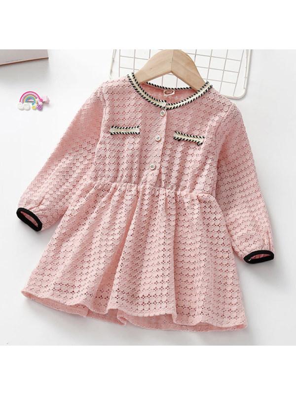 【18M-7Y】Girl Sweet Lace Long Sleeve Dress