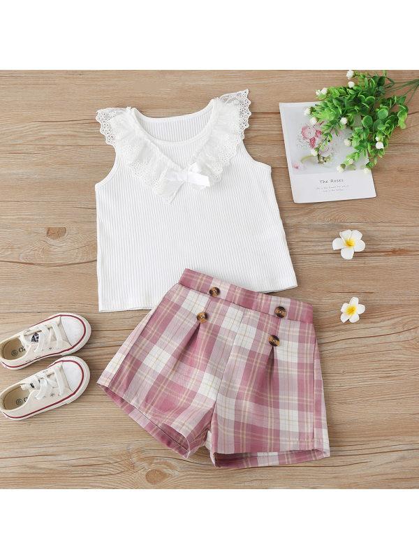 【18M-7Y】Girls Sweet White Sleeveless Lace Blouse Plaid Shorts Suit