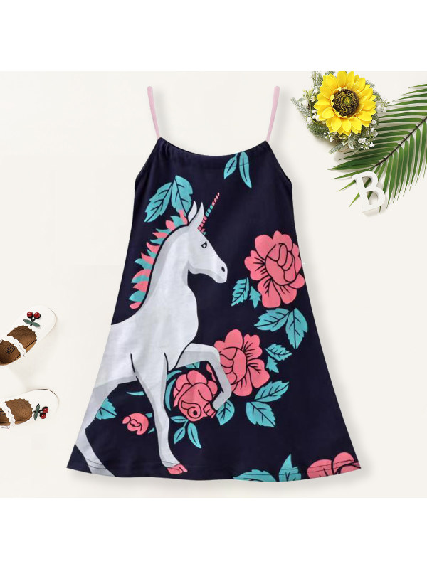 【18M-7Y】Girls Unicorn Print Sling Dress