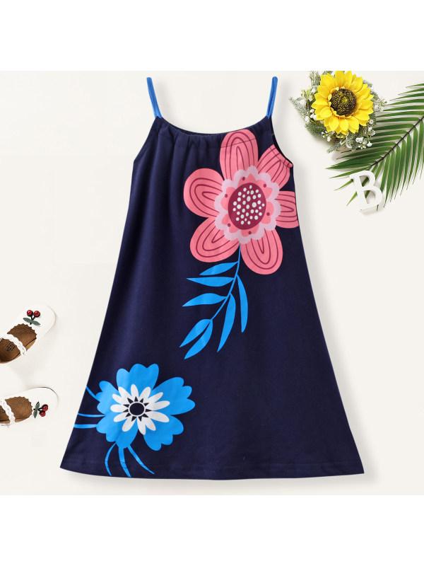 【18M-7Y】Girl Sweet Flower Pattern Sling Dress