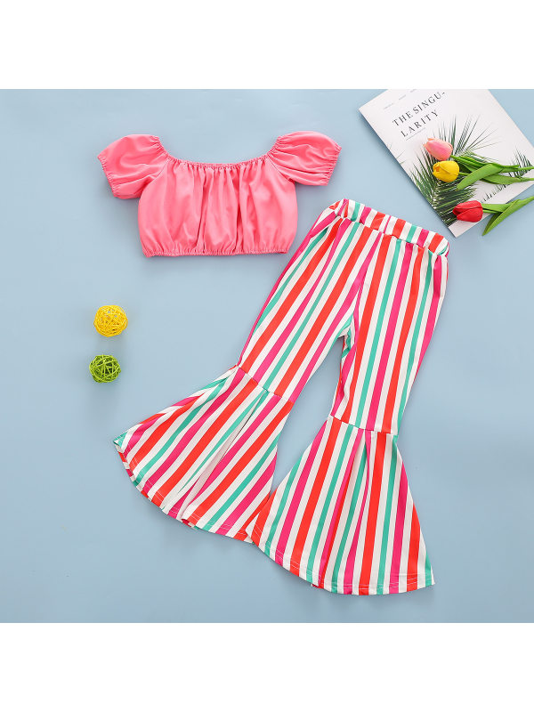 【18M-7Y】Girls One-line Crop Top with Rainbow Stripes Flared Pants Suit