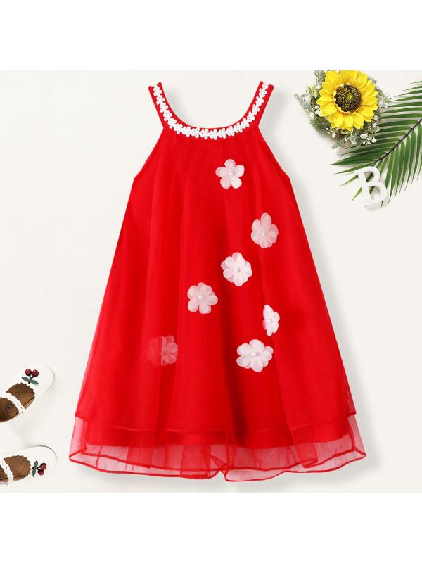 【18M-7Y】Girls Sweet Chiffon Applique Sleeveless Dress