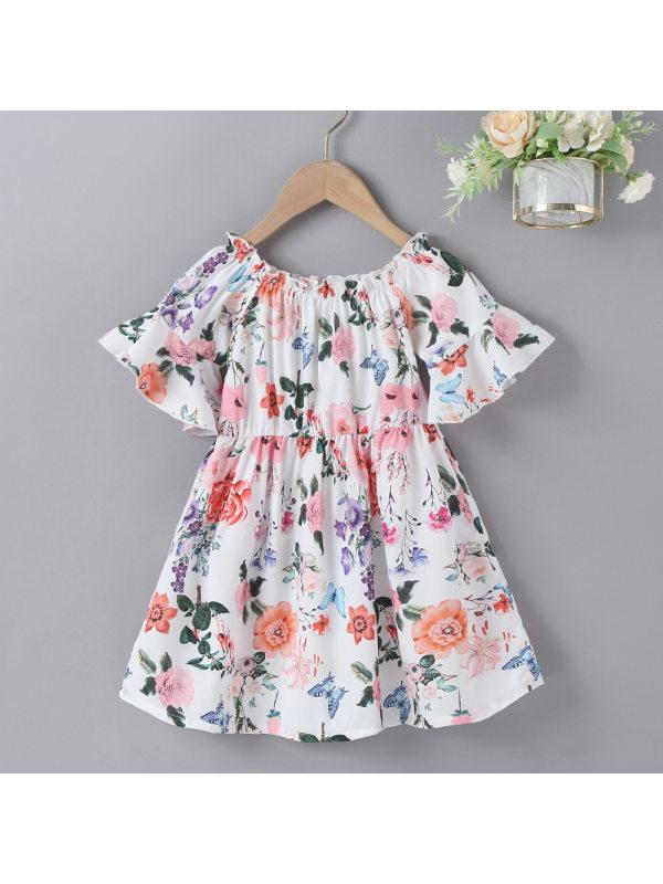 【18M-7Y】Girls Sweet Flower Print One-shoulder Flared Sleeve Dress