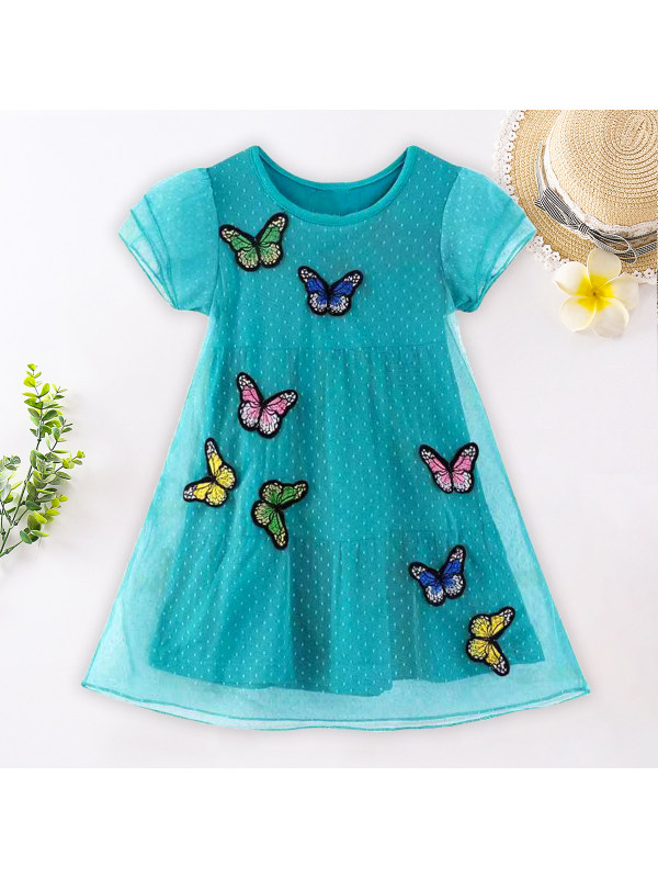 【18M-9Y】Sweet Butterfly Embroidered Green Mesh Dress