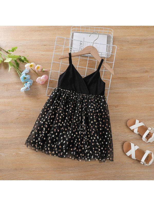 【12M-5Y】Girls V-neck Star Sling Dress