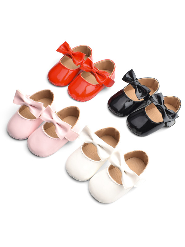 Cute Baby Girl Patent Leather Bowknot Toddler Shoes