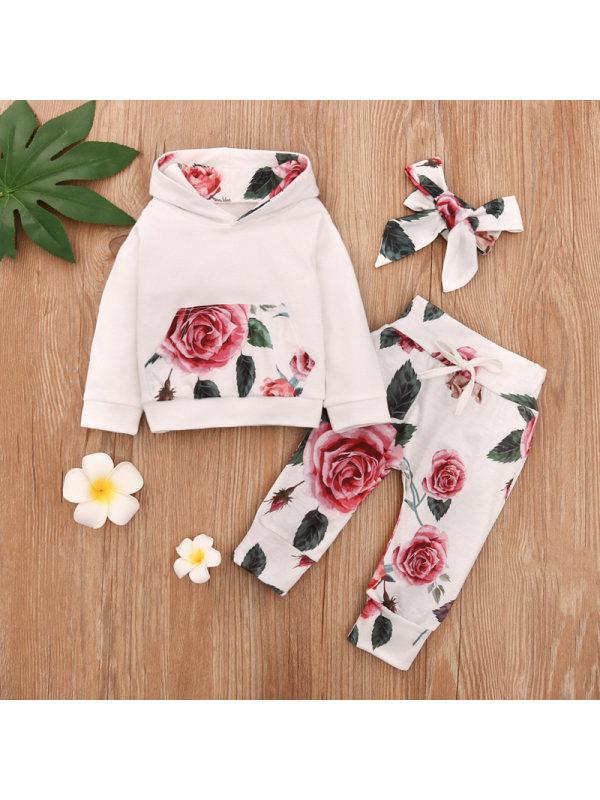 【6M-3Y】Girls Floral Long Sleeve Sweatshirt Three-piece Suit
