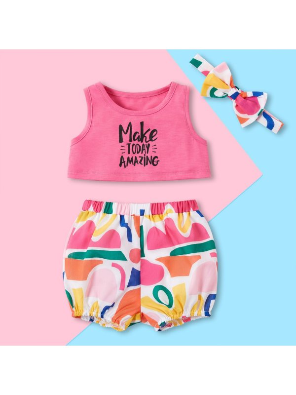 【6M-4Y】Girls Cotton Vest Color Matching Shorts Suit with Headband