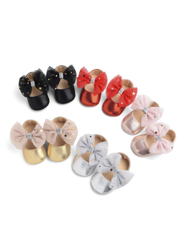 5 Color Big Bow Type Female Baby Princess Shoes Baby Shoes Soft Sole Toddler Shoes