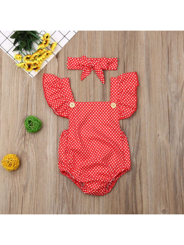 【6M-3Y】Baby Sleeveless Lace One-piece Triangle Romper with Headband