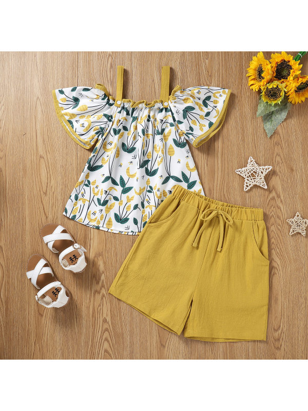 【12M-5Y】Sweet Floral Print Top and Pure Color Shorts Set