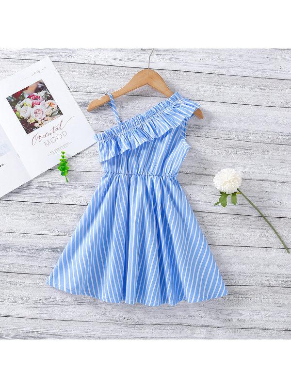 【18M-7Y】Girls' Slanted Shoulder Strap Dress