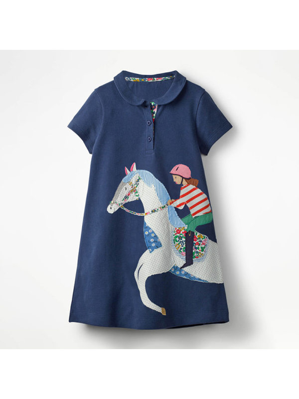 【18M-9Y】Girls Embroidered Short-sleeved Dress