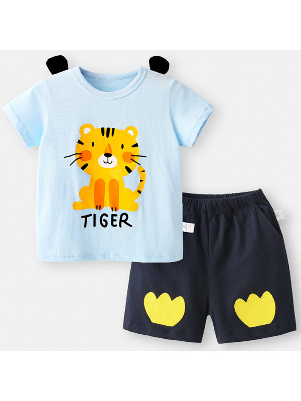 【12M-7Y】Boys Cartoon Tiger Print Summer T-shirt Shorts Suit