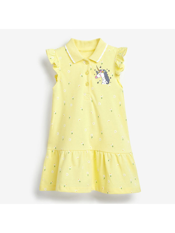 【18M-9Y】Girls Cartoon Unicorn Print Lapel Dress