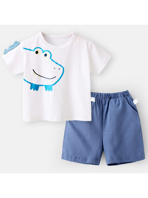 【12M-7Y】Boys Cartoon Print Short Sleeve Two-piece Suit