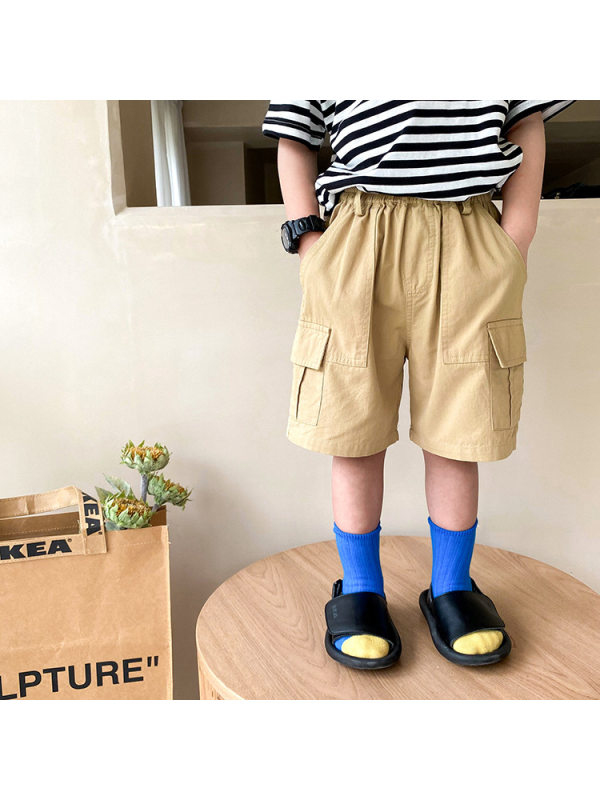 【12M-9Y】Boy's Solid Color Big Pocket Tooling Trousers