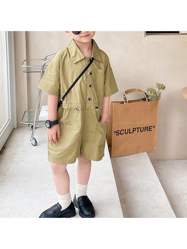 【12M-9Y】Boys Short Sleeve Trendy Overalls