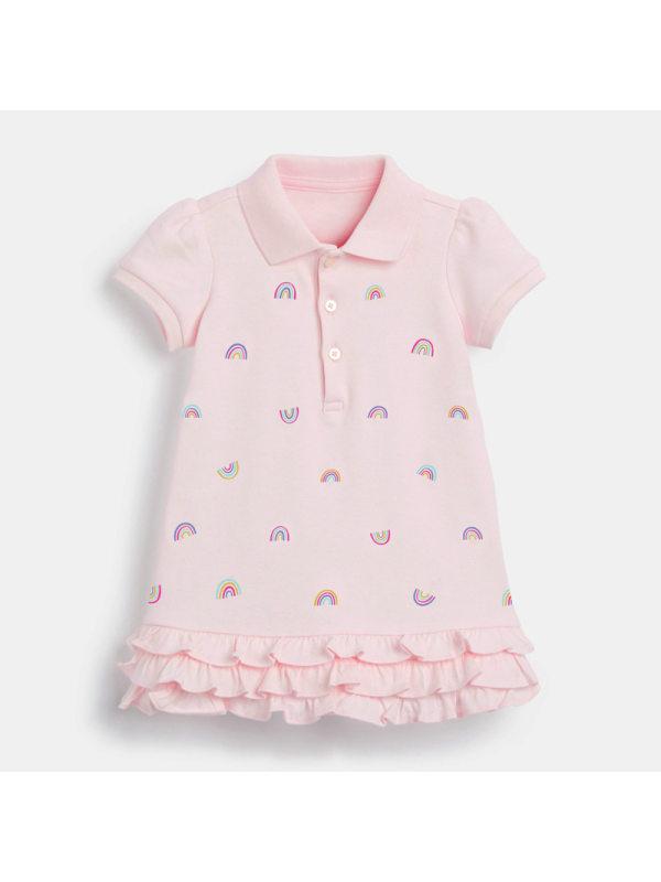 【18M-9Y】Girls Short-sleeved Rainbow Print Dress