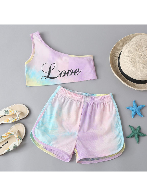 【18M-7Y】Girls Tie-dye One-shouder Top and Shorts Two-piece Suit