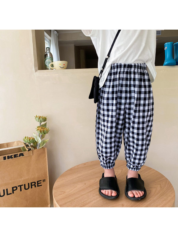 【12M-9Y】Boy's Thin Plaid Casual Pants Anti-mosquito Trousers
