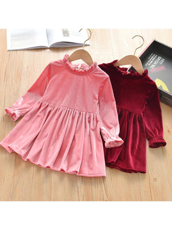 【2Y-13Y】Sweet Velvet Long Sleeve Short Dress