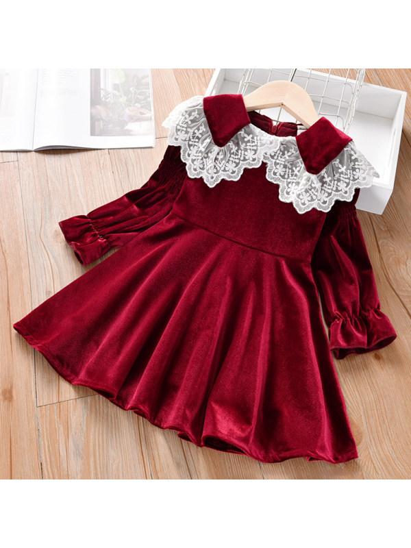【2Y-9Y】Sweet Lace Collar Long Sleeve Velvet Dress